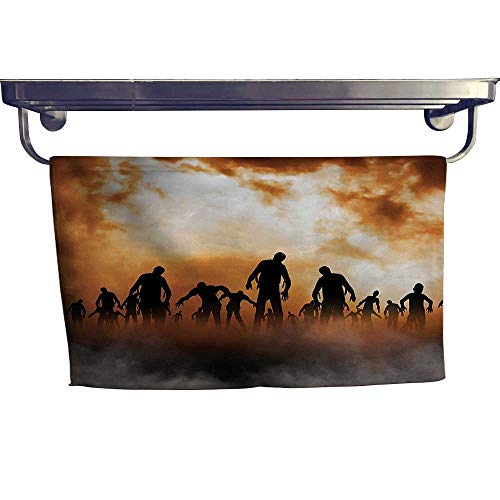 """HoBeauty home Absorbent Towel, Zombies Dead Men Body Walking in The Doom Mist at Dark Night,spa, Gym etc, Strength, high Absorbency and Fast Drying W 23.5"""" x L 8"""""""