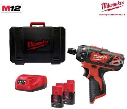 in koffer 2x 2.0Ah accu Milwaukee M12 BD-202C 12V Li-Ion accu boor-//schroefmachine set