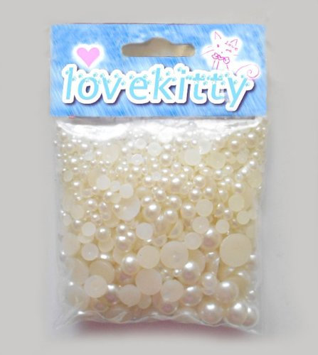 500 pcs Cearm Color Mixed Sizes Flat back Pearl Cabochon by Lovekitty ()