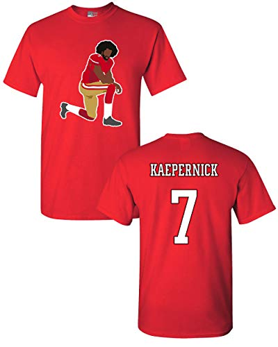 T-shirt Nation Adult - Beach Open Kaepernick 7 Kneel Stand Football Protest Kap Front & Back DT Adult T-Shirt Tee (Small, Red)