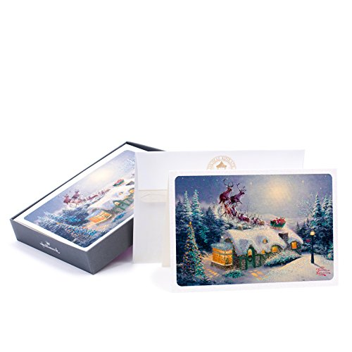 Hallmark Christmas Boxed Cards (Thomas Kinkade Santa with Christmas Cottage, 16 Christmas Greeting Cards and 17 Envelopes)