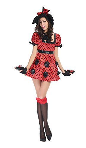 [Bulacker Halloween Personality Mickey Installed Rivet Role Play Costume Set,Red] (Cute Easy Group Costumes Ideas)