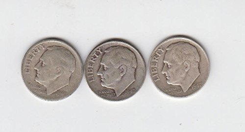 (1947 P D S Roosevelt Silver Dimes (3) Coins, All Three Mints, Circulated Very Good)