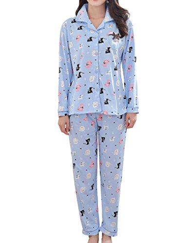 MyFav Big Girls Owl Printed Pajama Set Cartoon Black Cat Winter Spring Sleepwear
