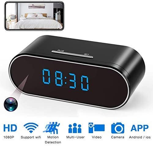 Spy Camera WiFi Hidden Camera Clock 1080P with Night Vision Motion Detection Loop Recording, Phone APP PC Software Remote Monitored Mini Nanny Cam 140 Degree Angle for Home Security Monitoring