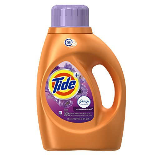 Tide Plus Febreze Freshness Spring & Renewal Scent HE Turbo Clean Liquid Laundry Detergent, 46 Fluid Ounce (24 Loads), 2 Count by Tide (Tide Laundry Detergent Baby)