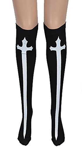 Annymall Women Halloween Theme Accessories Skeleton Stockings with Blood Splash Cross for Cosplay Costume Party Halloween Masquerade Party (Cross)