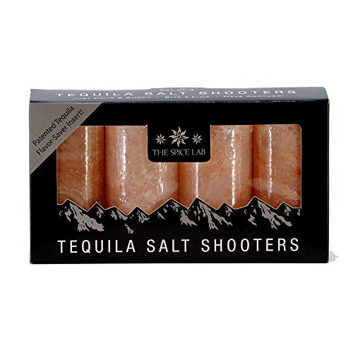 The Spice Lab Pink Himalayan Salt Tequila Shot Glasses - Just Pour, Shoot and Bite a Lime - Naturally Anti-Bacterial - The Perfect Tequila Shot Glass for your Bar- 4 Pack