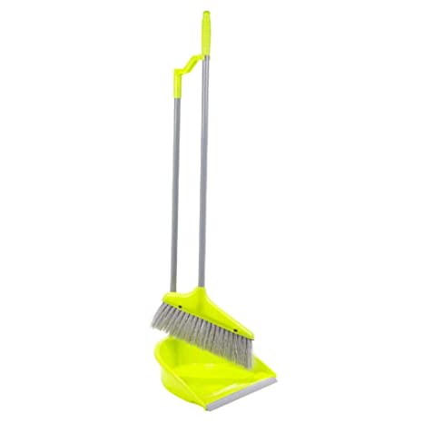 Upright Long Handle Dustpan And Brush Set Broom Sweep Clean Clip Handle Disposal