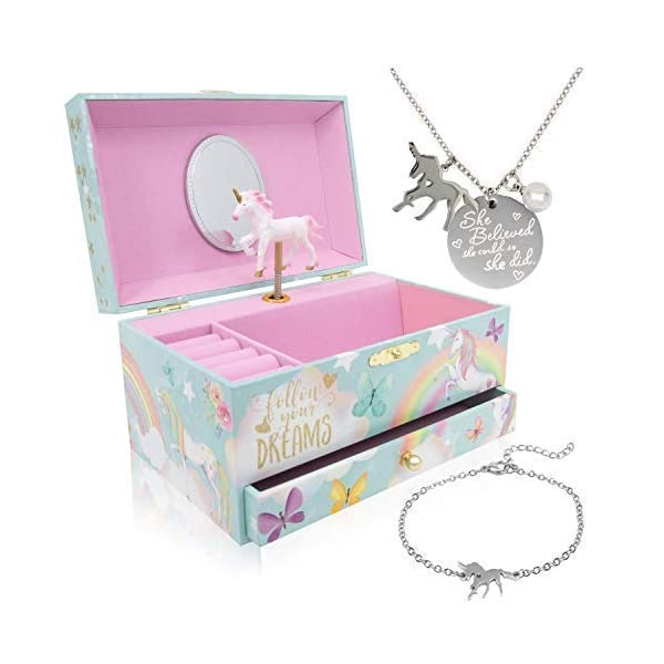 The Memory Building Company Unicorn Music Box & Little Girls Jewelry Set - 3 Unicorn Gifts for Girls 3