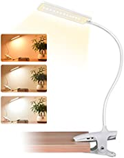 CUHIOY LED Reading Light, 9 Settings Clip On Reading Light for Beds, Eye Protect Bedside Book Light, USB Rechargeable Bed Lamp, Desk Light with Flexible Neck, Kids Night Light, Touch Control Reading Lamp