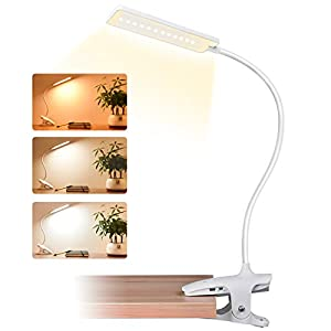 9 Modes Desk Light Clamp Lamp CUHIOY Clip On Reading Light for Beds Headboard 360/° Neck Kids Night Light Touch Control Bedside Reading Lamp Rechargeable Bedtime Book Clip Light Clip Bed Light