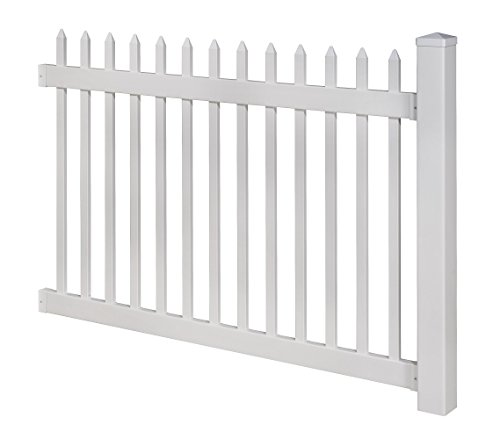 WamBam No-Dig Permanent Nantucket Picket Vinyl Fence w/ Post and No-Dig Steel Pipe Anchor Kit, 4' High by 6' Wide