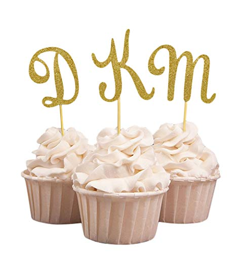 (Darling Souvenir, Custom Initials Wedding Cupcake Toppers, Personalized Party Dessert Decorations - Pack Of 20)