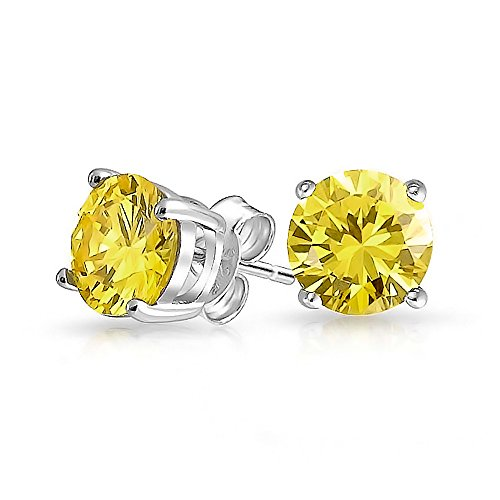 1Ct Canary Yellow Round Cubic Zirconia Brilliant Cut Solitaire AAA CZ Stud Earrings 925 Sterling Silver Simulated Topaz