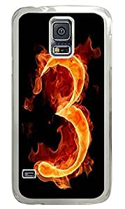 Samsung S5 case thinnest Fire Number 3 PC Transparent Custom Samsung Galaxy S5 Case Cover