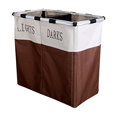 Dorfin Laundry Hamper,Double Lattice Washing Oxford Dirty Cloths Foldable Storage Basket Household 2 section Brown and White
