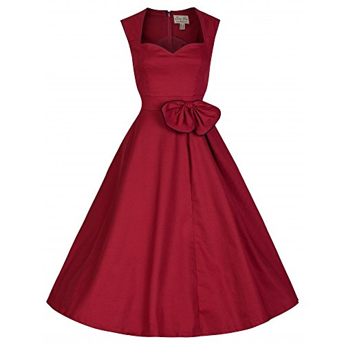 Lindy-Bop-Grace-Red-Cotton-Swing-Dress