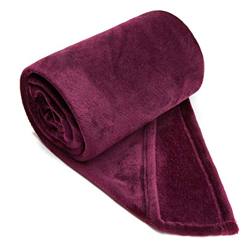 COCOPLAY W Purple Throw Blanket, Flannel Fleece 50×60 Inches, All Season Microfiber Velvet Super Luxury Lightweight Warm Soft Cozy Blanket for Bed, Couch, Car