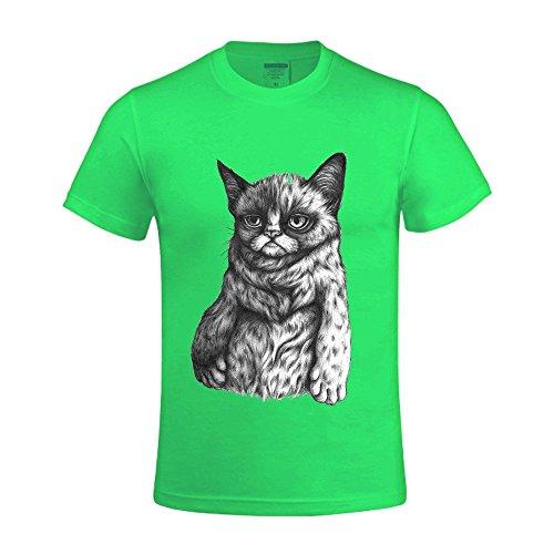 Overbearing Tard The Grumpy Cat Customized Men's O Neck Tee shirts Green