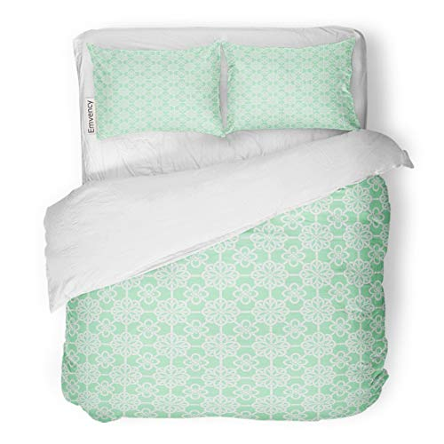 Tarolo Bedding Duvet Cover Set Korean Oriental Asian Net Pattern Round Knot Compositions Mint and White Colors Traditional 3 Piece Queen 90