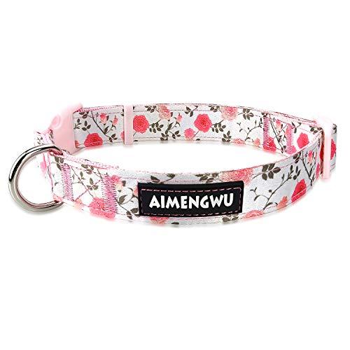 AIMENGWU Dog Collar Floral Nylon Adjustable Large Medium Small Different Sizes Flower Series