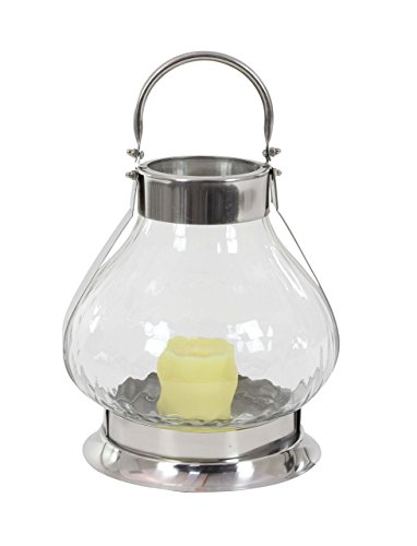 (Deco 79 89776 Pear-Shaped Glass Stainless Steel Candle Lantern, 14