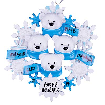Polar Bear Family of 4 Personalized Ornament - (Unique Christmas Tree Ornament - Classic Decor for A Holiday Party - Custom Decorations for Family Kids Baby Military Sports Or Pets)