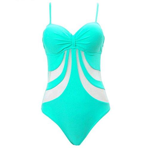 Serie hueco de las rayas Siamese Bikini Spa Swimsuit Traje de baño de playa Verde