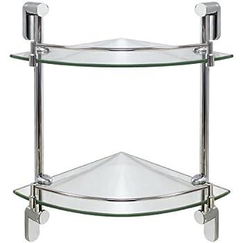 Amazon.com: MODONA Double Corner Glass Shelf with Rail – Polished ...