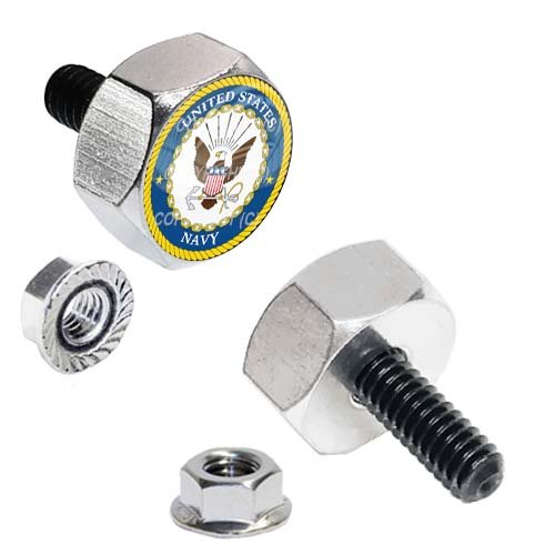 Tricktoppers Hex Head Polished Billet Aluminum Universal Motorcycle License Plate Frame Fastener Tag Bolt Kit With High Resolution Gloss Graphics - Military Veteran USN Navy Eagle Logo (2 ()