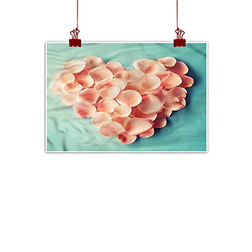 Art Poster Print Coral,Heart Shaped Flower Petals 36