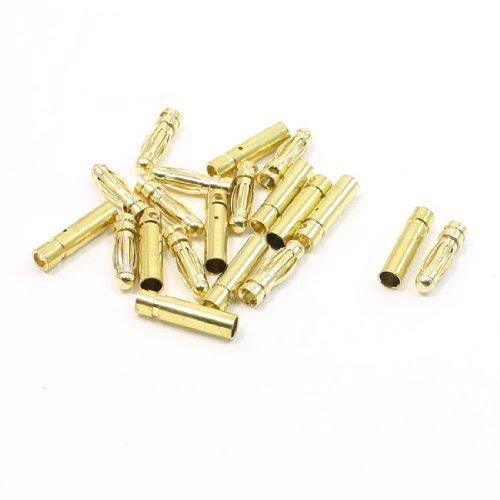 10 Pairs Gold Tone Metal 3mm Dia Audio Banana Bullet Connectors