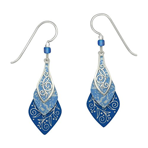 Date Designer Earrings (Adajio Beaded 3 Layer Lightweight Hand Painted Lake Blue Necktie Shaped Etched Dangle)