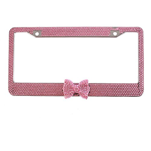 Global_Shopper Lovely Pink Bowtie Bling Crystal License Plate Frame Cute Rhinestone Car/Truck/SUV License Plate Holder For Woman,Lady,Girl (1 Frame) ()