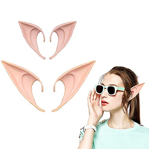 Yunhigh 1 Pair Latex Elf Ears Pink Fairy Pixie Prosthetic Pointy Elven Ears Anime Cosplay Costume