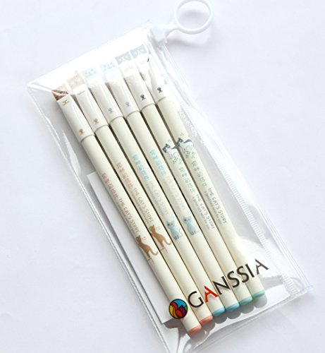 GANSSIA Colorful Cats Design 0.38mm Gel Pens Black Ink Pack of 6 Pcs by GANSSIA (Image #6)