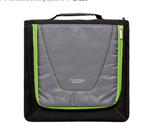 Zipper Binder 530 Sheet Capacity, 2 inch, Five Star , 12 3/4 Inch * 12 Inch, Including 3 Color Code Dividers, Durable Handle $ Strap, Removable Pencil Pouch (Black,Gray With Yellow Zipper)