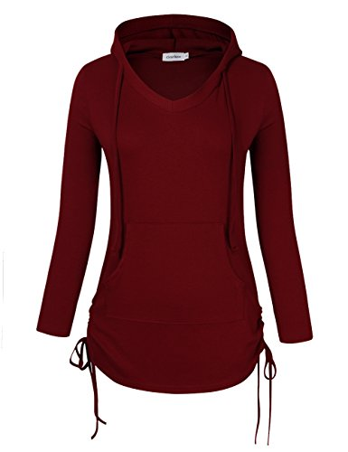 Clearlove Women's V Neck Long Sleeve Sweatshirts Pullover Hoodie Gym Shirt with Kangaroo Pocket - Wine Red X-Large by Clearlove