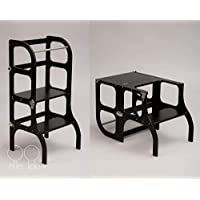 Convertible Helper tower - table/chair Step'n'Sit all-in-one, Montessori learning stool, kitchen step stool - BLACK color/SILVER clasps