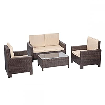 BestMassage 4 Pieces Outdoor Patio PE Rattan Wicker Sofa Sectional Furniture Set With Cushion