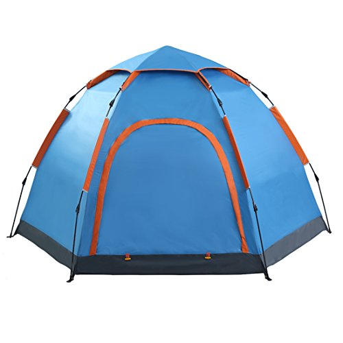 3-5 People, Hexagonal Yurts, Outdoor Camping Tents, Single Storey, Double Doors, Fully Automatic, Pop up Tents (Blue)