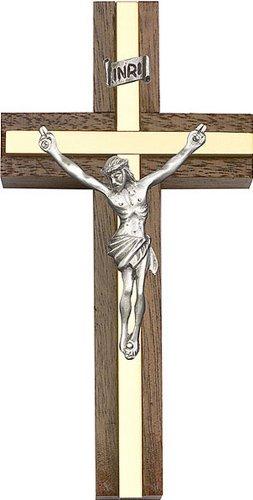 Icecarats Créatrice De Bijoux 4 Pouces Argent Antique Crucifix, Noyer W / Incrustation De Laiton 4 X 2 Pouces