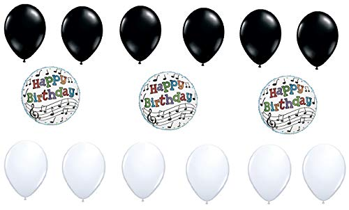 Music Note Balloons and Solid Color Balloons | Bundle of 3 Mylar Foil Musical Note Balloons and 12 Latex Balloons | For Birthday, Baby Shower, Black And White Themed Party | By Burton and Burton