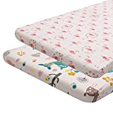ALVABABY 2 PackCrib Sheet 100% Organic Cotton Soft and Light Baby Bassinet Pads/Mattress for Boys and Girls 2YTCZW08