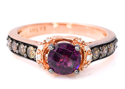 - LeVian Rhodolite Garnet Chocolate and White Diamonds Cocktail 1.37 cttw Ring 14k Rose Gold size 7