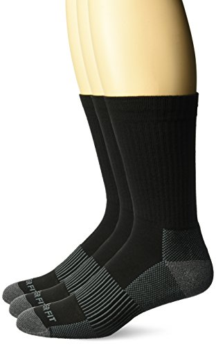 Copper Fit Mens 3PK Crew Length Socks, Black, 10/13