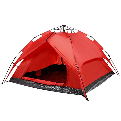 Miageek 3-Person Camping Hiking Tent Automatic Instant Setup Dome Tent Dual Layer with Shelter[US STOCK] (3-Person Red)