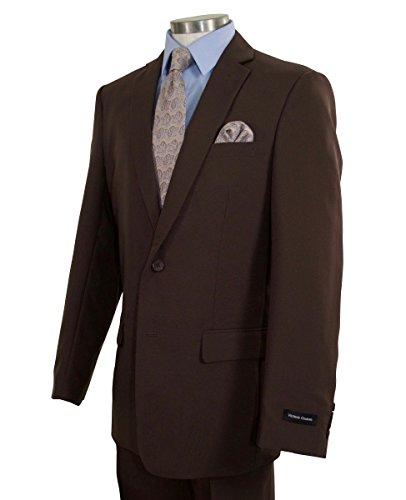 Victorio Couture Men's 2 Button Classic-Fit Poplin Polyester Suit [Color: Brown | Size: 46 Regular / 40 ()