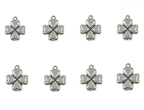 (30pcs Four Leaf Clover Heart-shaped Lucky Charms Pendents for DIY Bracelet Necklace Jewelry Making Accessories(Antique Silver))